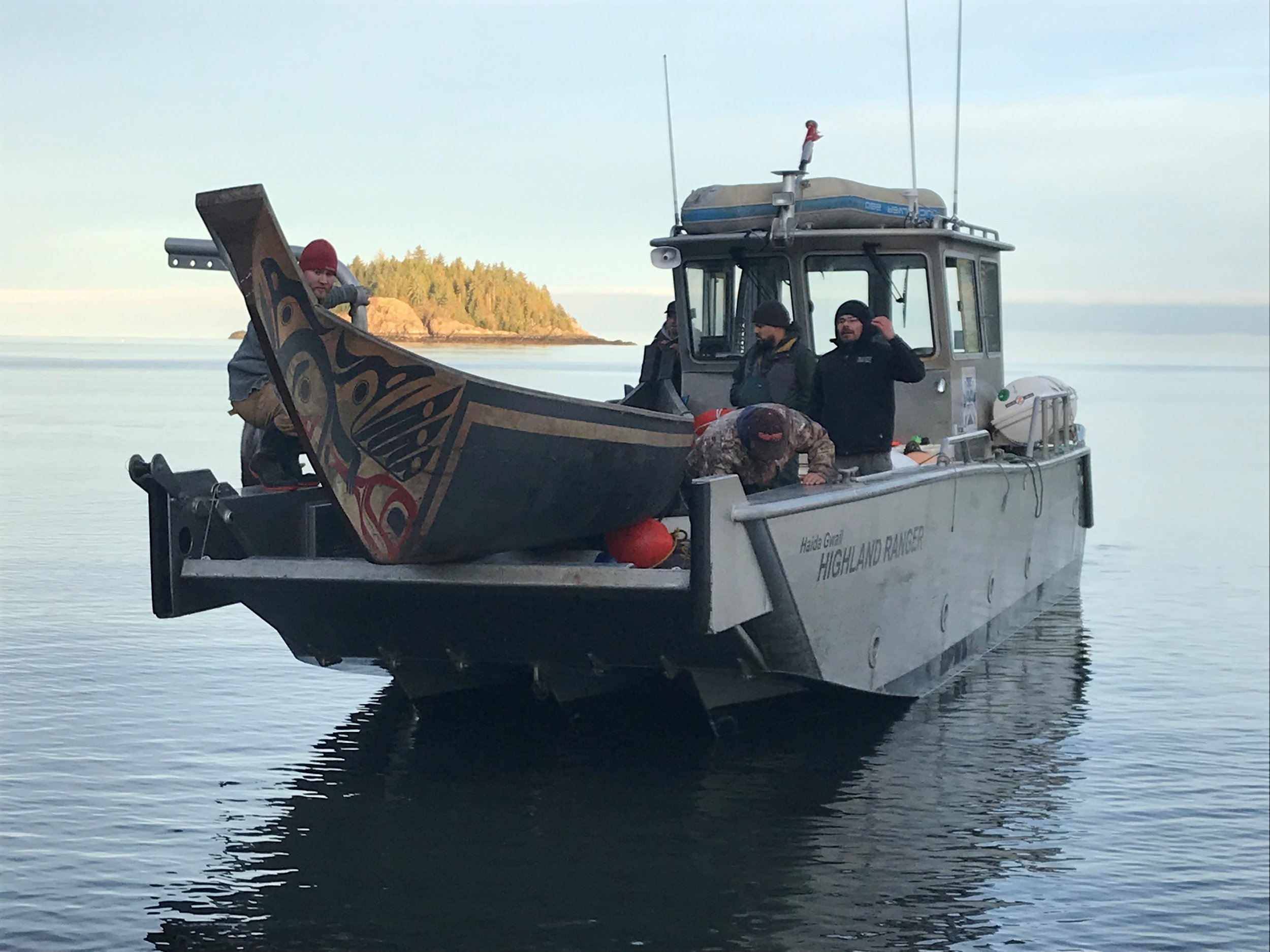 Canoe transport from West Coast to The Haida Heritage Centre at Ḵay Llnagaay. Special delivery!