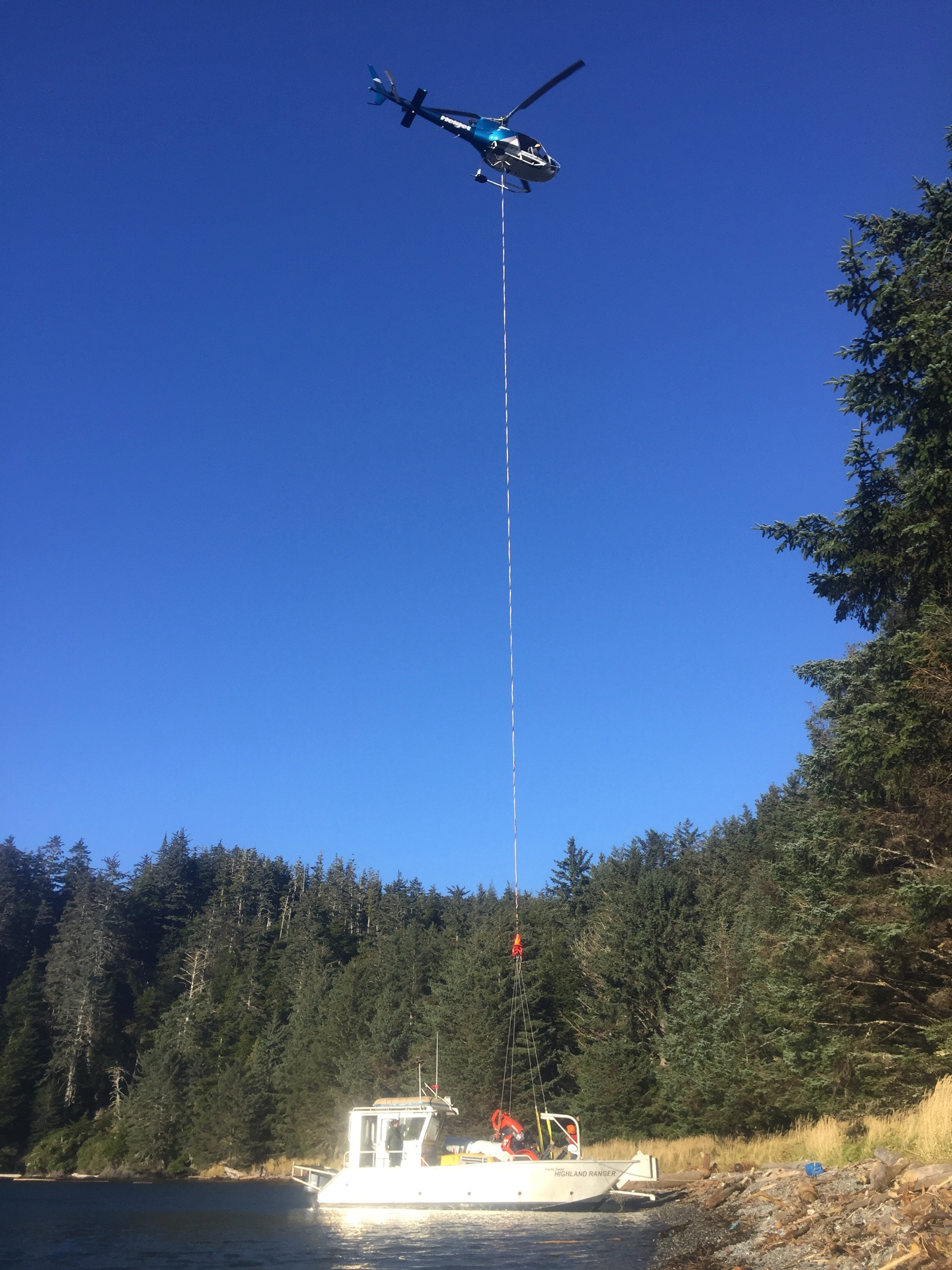 Heli lift of equipment on Langara Island.