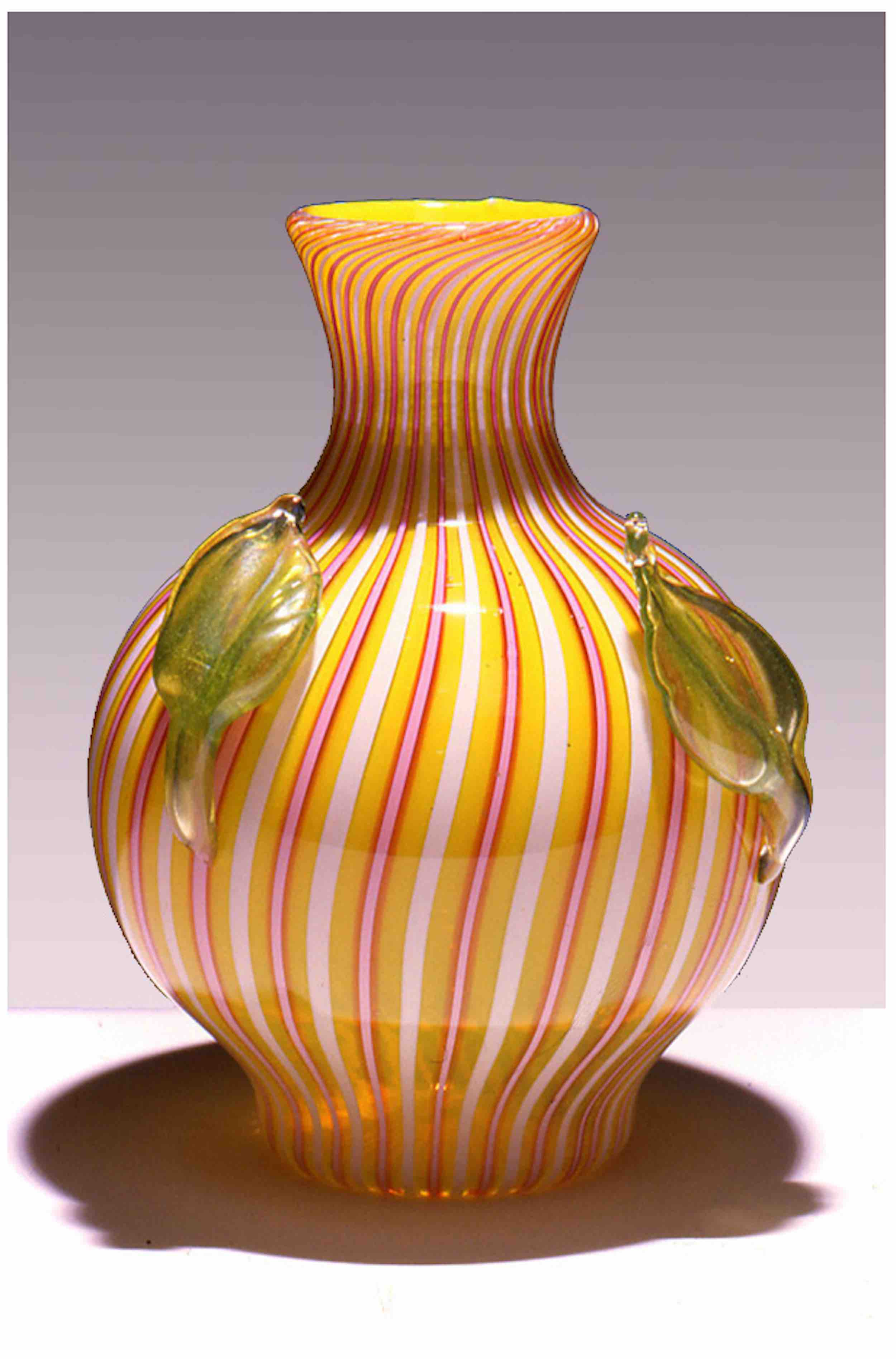 """Vase with blown leaves, 13"""" x 7"""""""