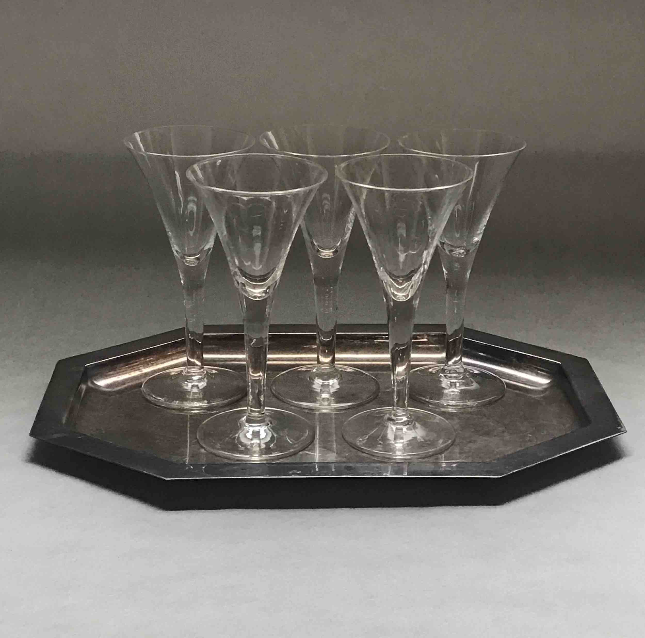 "#13: Five flutes on eight-sided silver tray. 6"" x 11.75"" x 8"""