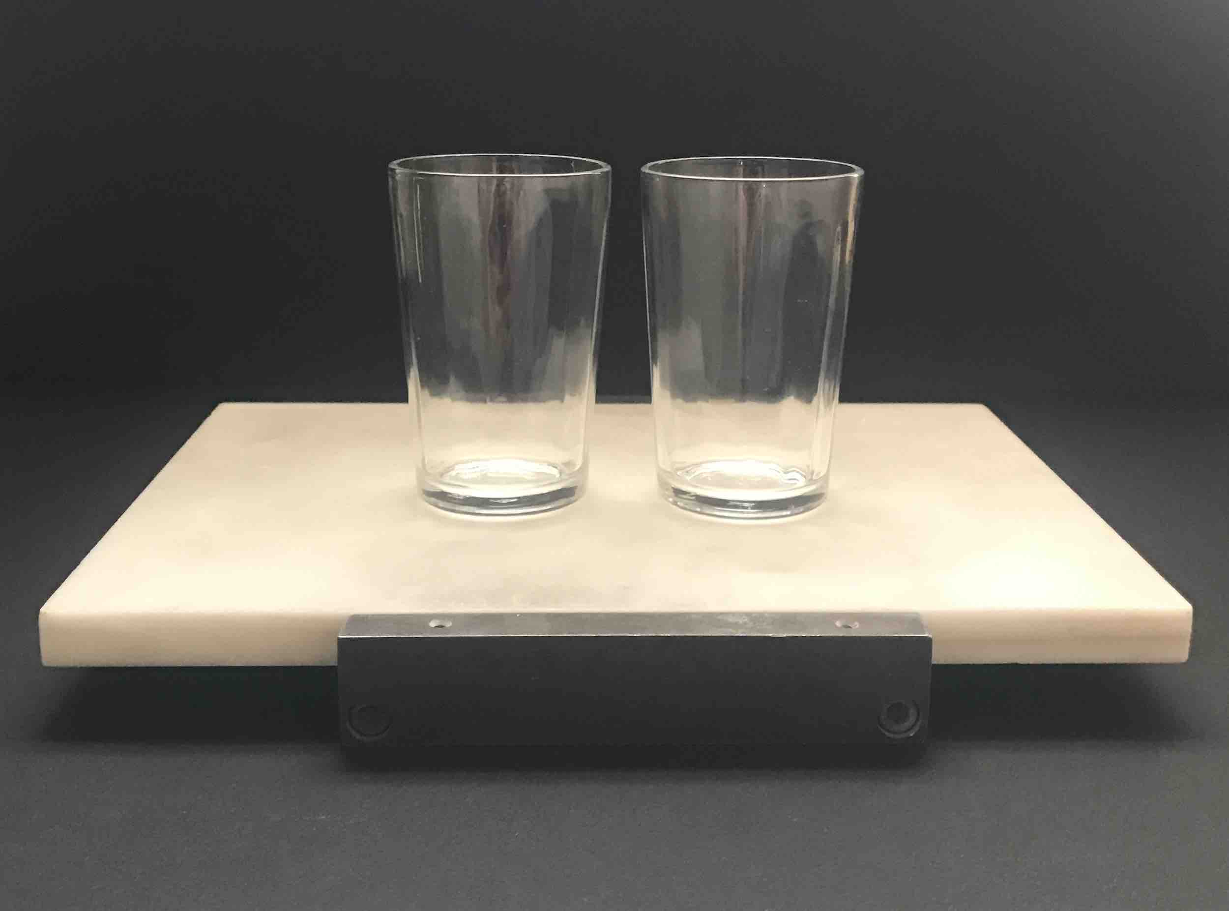 "#8: Marble slab on bronze frame with two ribbed tumblers. 3.5"" x 10"" x 7"" (SOLD)"