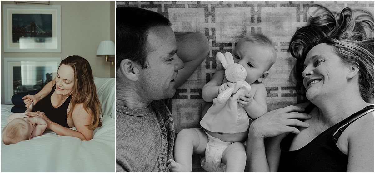 nyc newborn and family photographer dad, mom and baby with bunny on floor