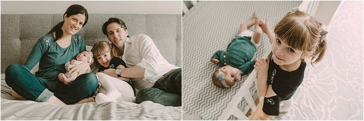 nyc family and newborn photographer bird's eye view of big sister close to newborn in crib