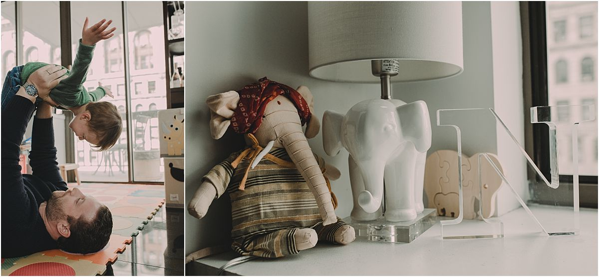 nyc family and newborn photographer baby room details including three elephant ornaments