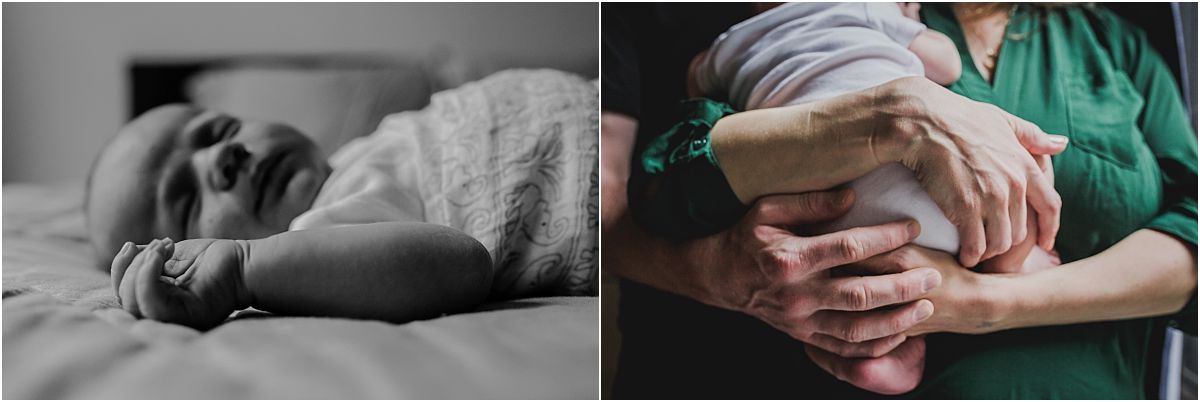 nyc family and newborn photographer taking the details shots of hands holding baby