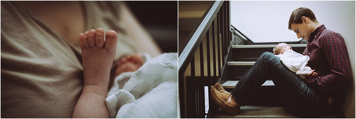 nyc family and newborn photographer mom, dad and newborn baby girl sit in stairwell while newborn sleeps on dad's lap
