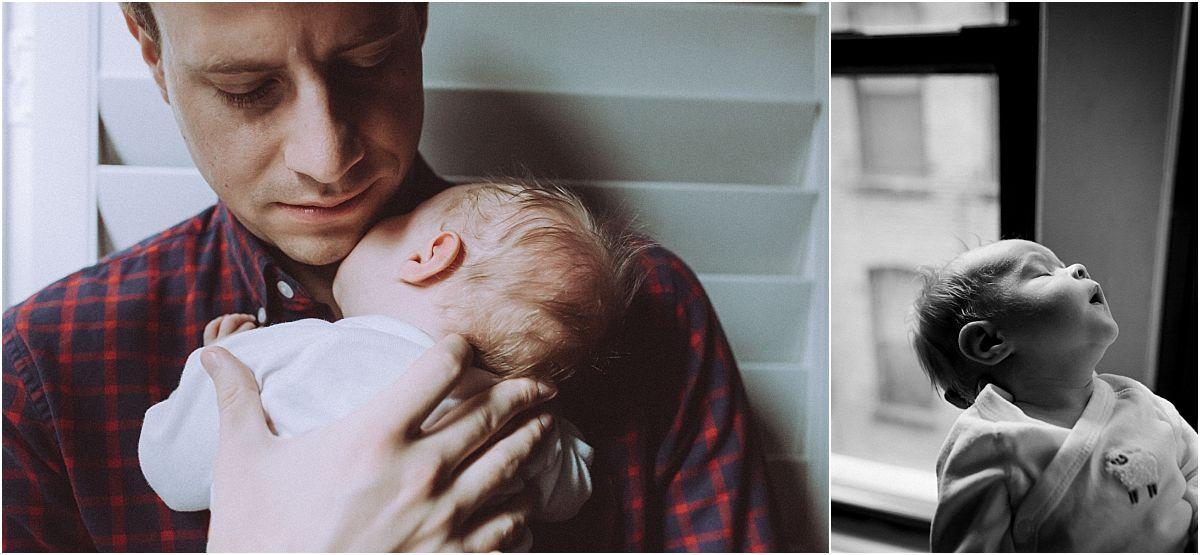 nyc family and newborn photographer and newborn baby girl sleeps by window