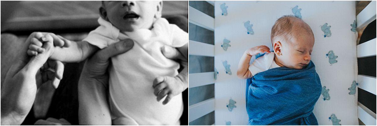 nyc family and newborn photographer newborn sleeping in white crib at home
