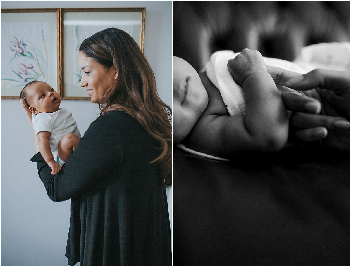 nyc family and newborn photographer newborn girl being held by mo m in baby's room in mommy and me session