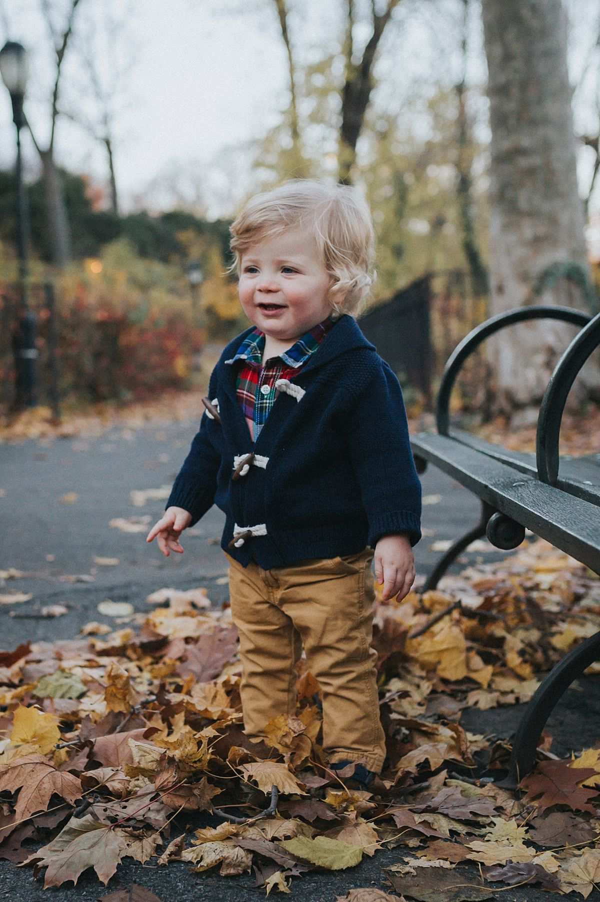 nyc family and newborn photographer portrait of toddler boy standing among fall leaves in nyc park