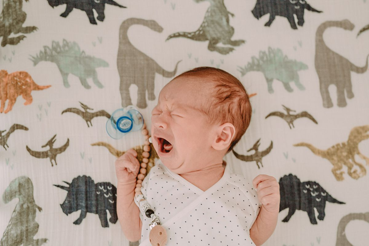 photo of newborn laying on dinosaur sheets while he roars like the dinosaurs. enjoying real family moments with newborn babies. image from krystil mcdowall photography