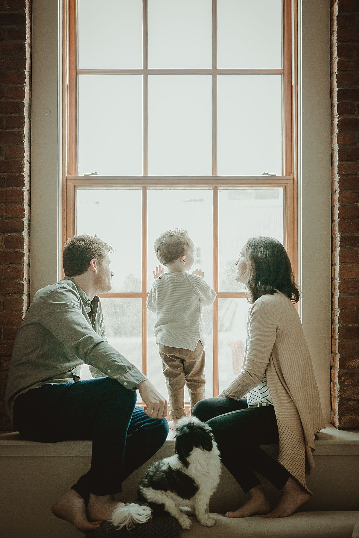 mom, dad, son and dog sit against light filled window looking at cars and trains go by. image by krystil mcdowall photography