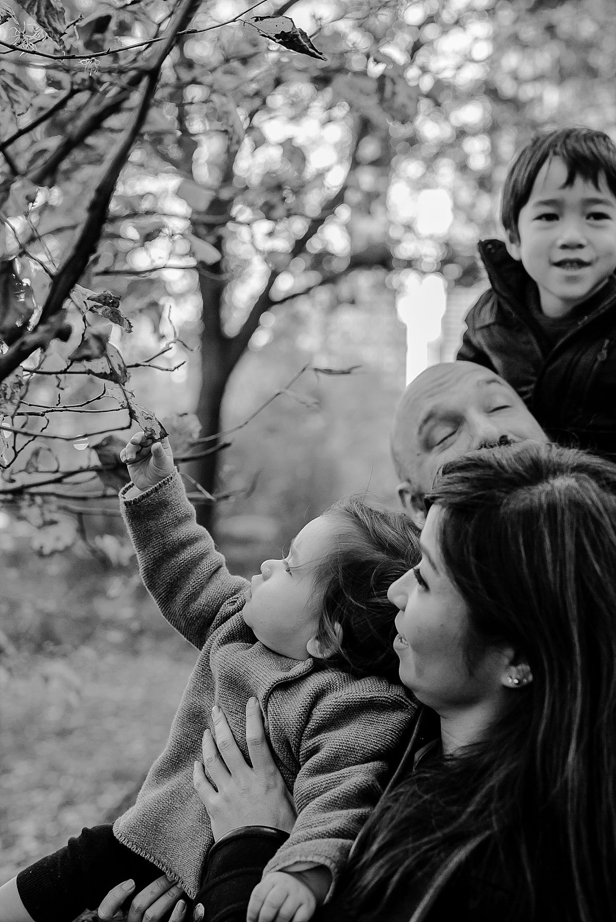family playing with leaves of tree at the bottom of central park on chilly winters day. image by krystil mcdowall photography
