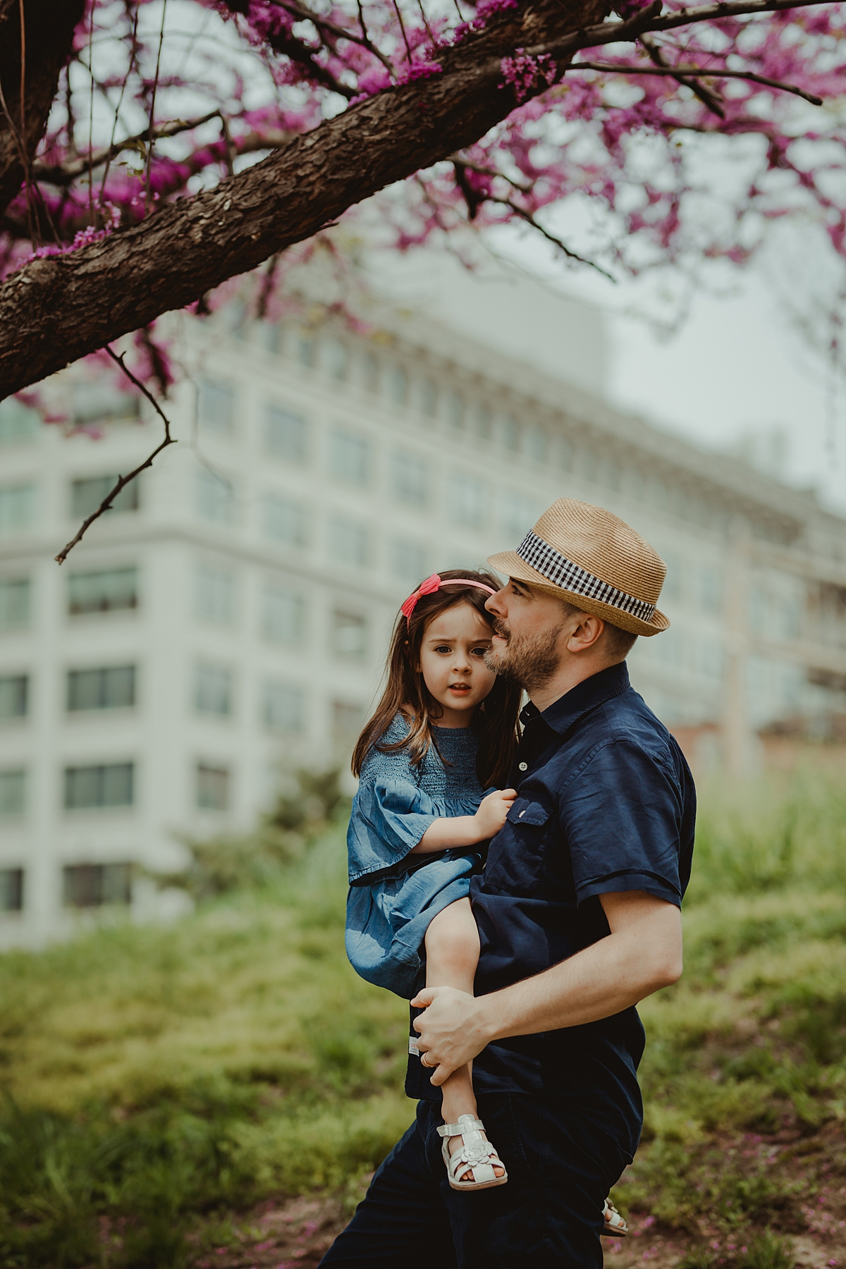 dad and daughter photo taken as they explore blooming cherry blossoms during family photo session in new york city.photo by nyc family and newborn photographer krystil mcdowall