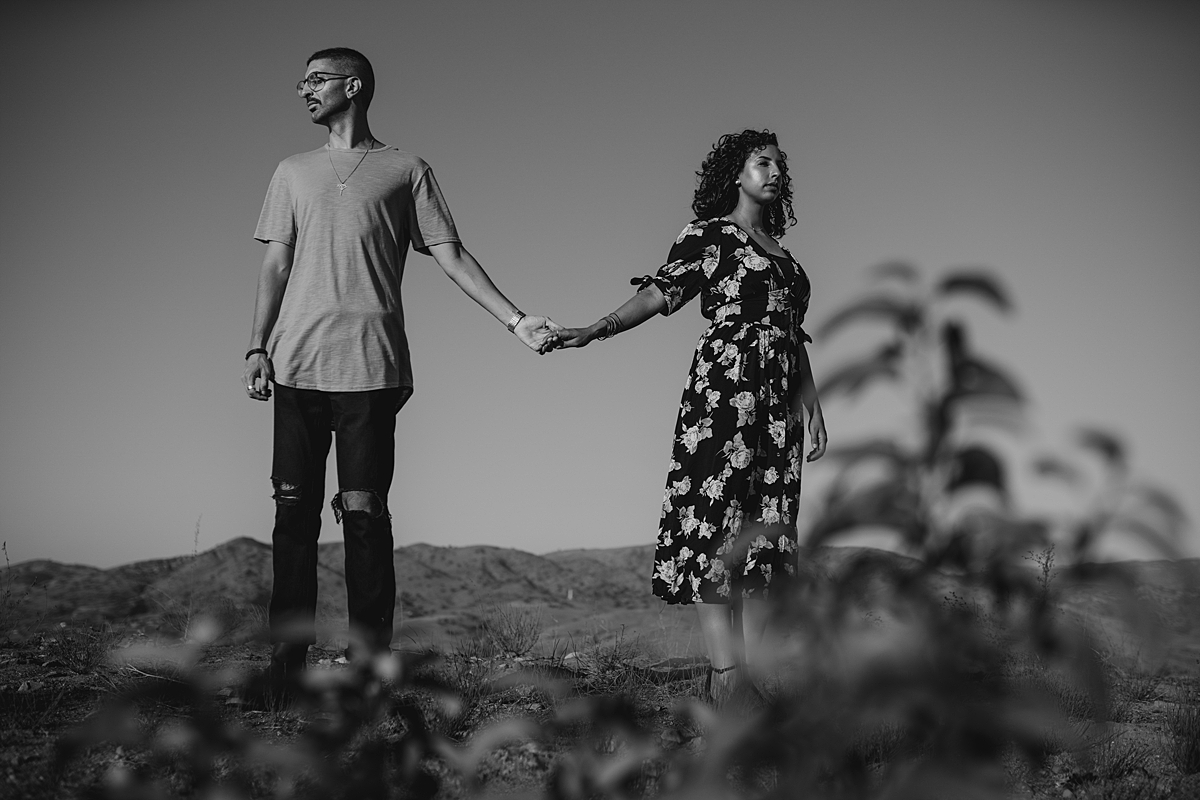 Orange County family photographer. black and white portrait of couple standing atop the hills and holding hands at Irvine Regional Park Orange County