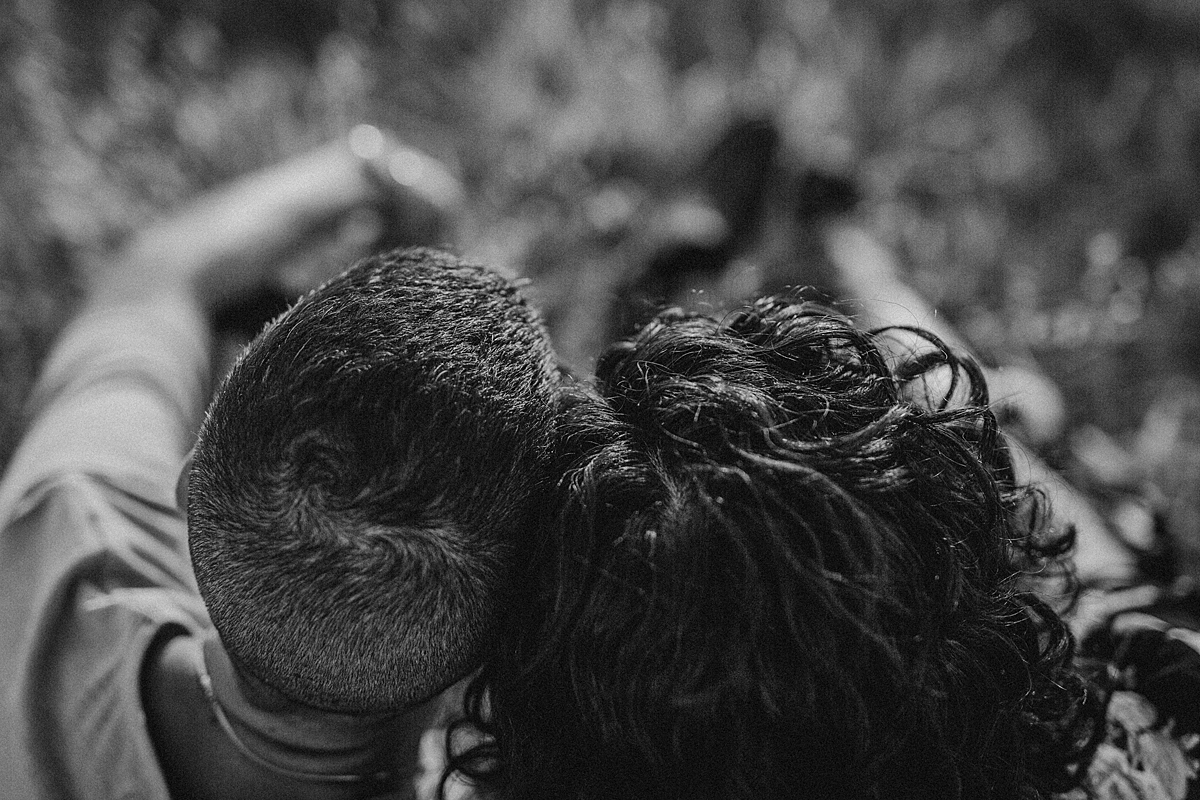 Orange County family photographer. photo of married couples heads taken birds eye view at Irvine Regional Park