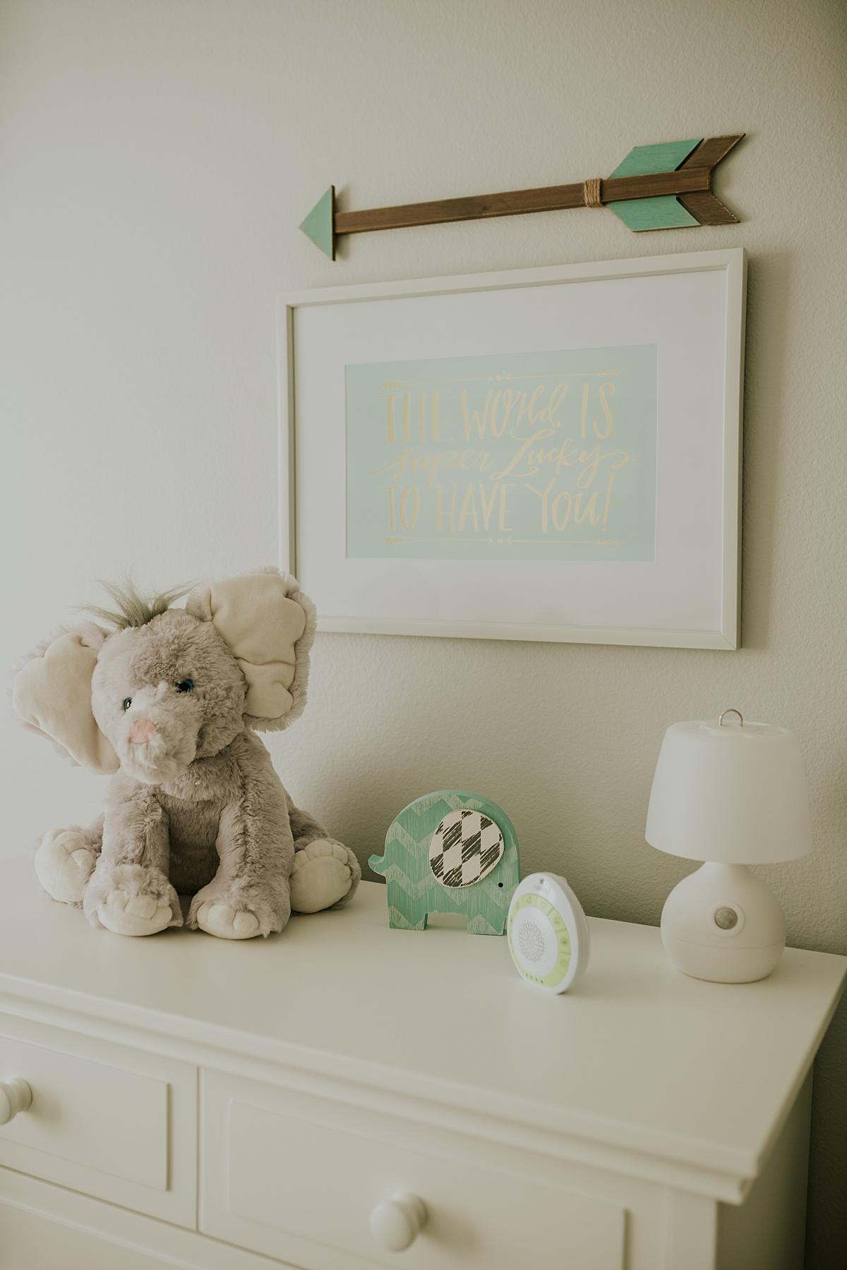 Orange County family photographer. photo of nursery decor in newborn son's room
