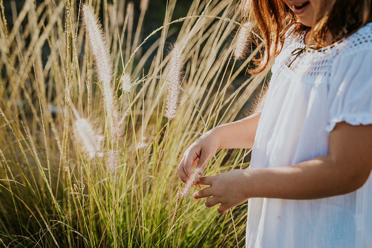Orange County family photographer. Close up photo of beautiful 5 year old girl in white dress picking the dandelions at sunset at family photo shoot at Quail Hill