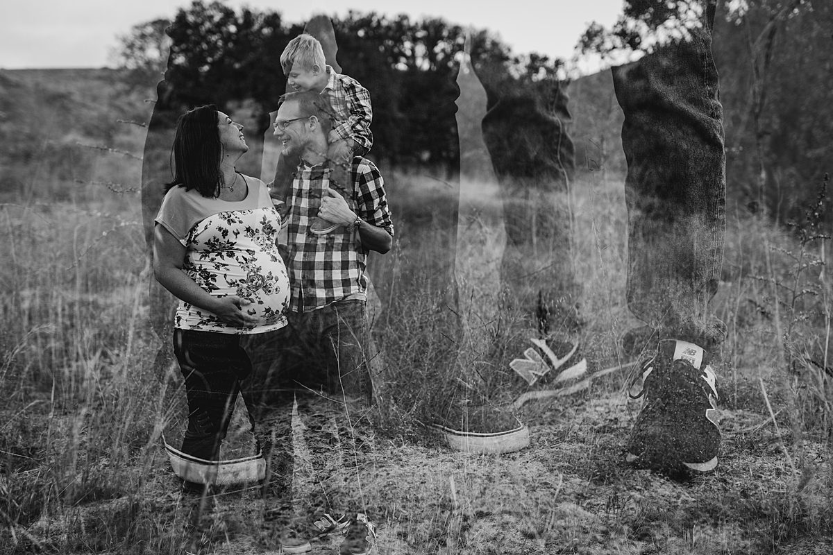 Orange County family photographer. Double exposure photo of pregnant mom, dad and first son at Irvine Regional Park