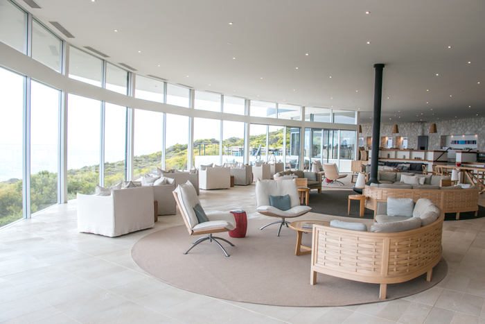 Inside the main dining area at the lodge with panoramic views of the Southern Ocean