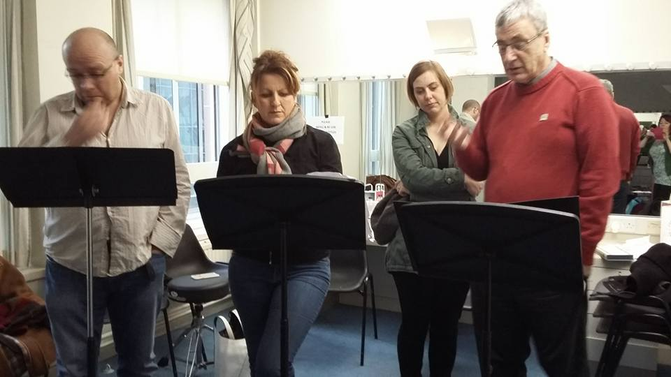 David Walker, Kathleen MacInnes, Eileen Scott and Donald S Murray in rehearsals.