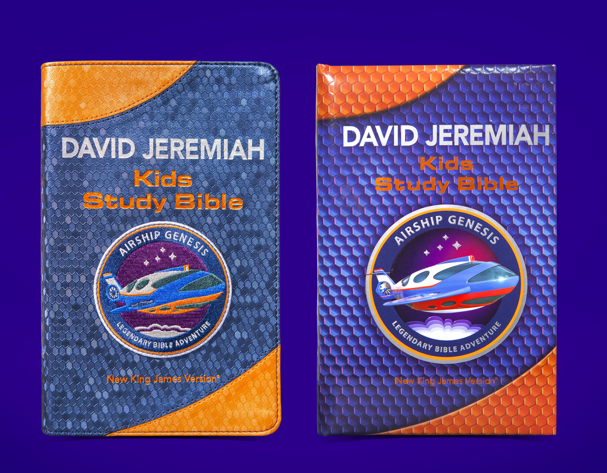 Cover Design  - Left: Techtile Leather version with 6 color embroidered patch | Right: Hardcover version with debossed texture.