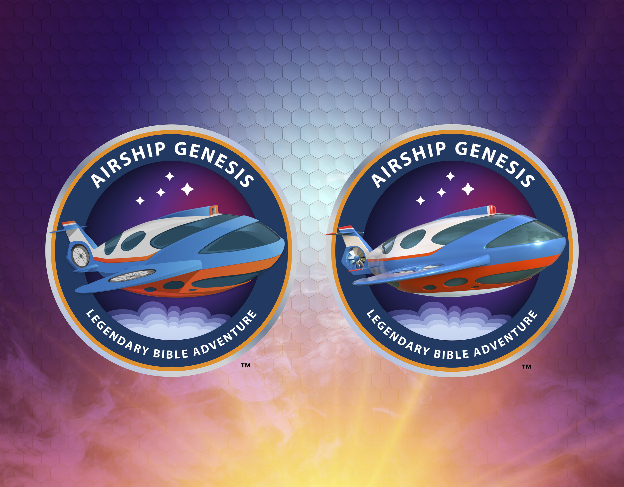 Airship Genesis Logo Branding  - Left: 2D Illustrated version | Right: 3D rendered version