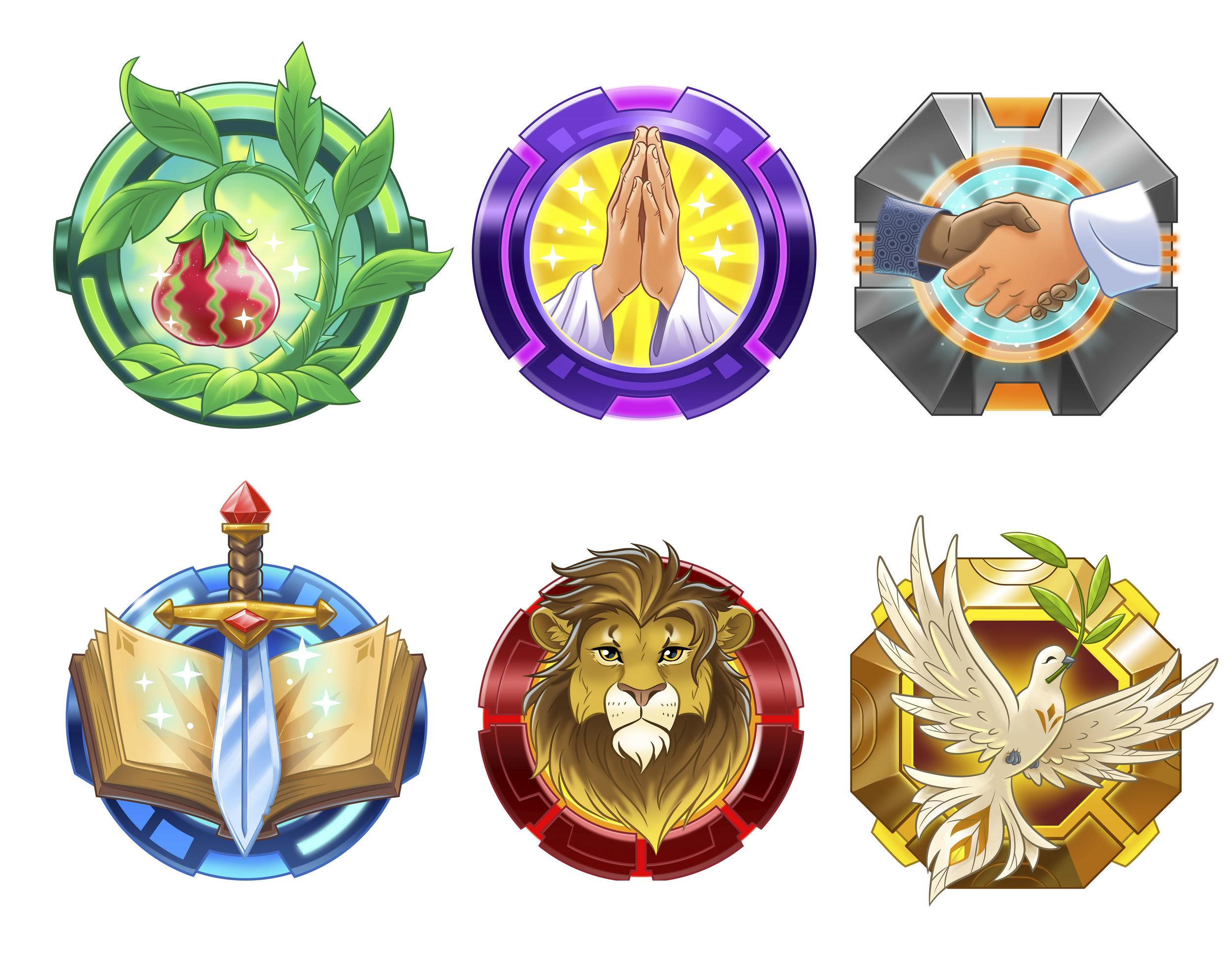 Reward badges - Art Direction (Illustration by Kelly Grupczynski Illustration)