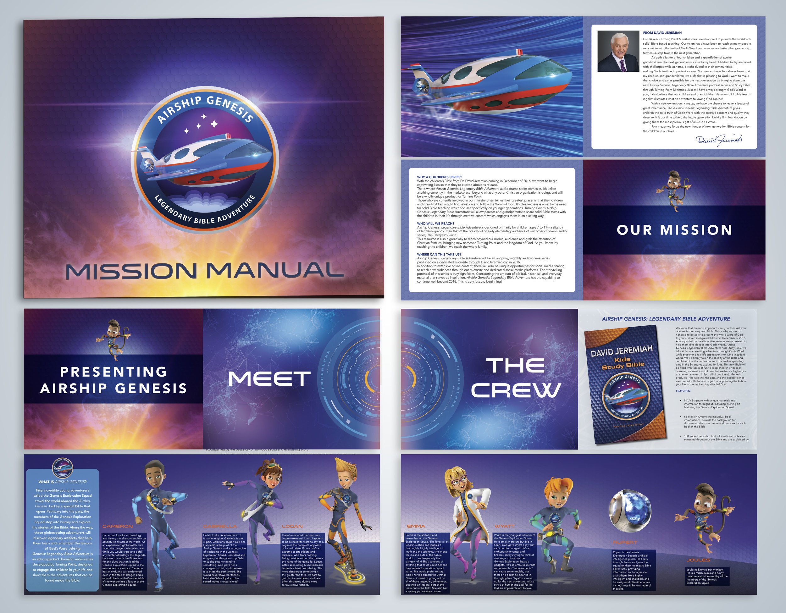 Mission Manual Booklet  - Designed with a double fold-out to showcase characters (shown above)