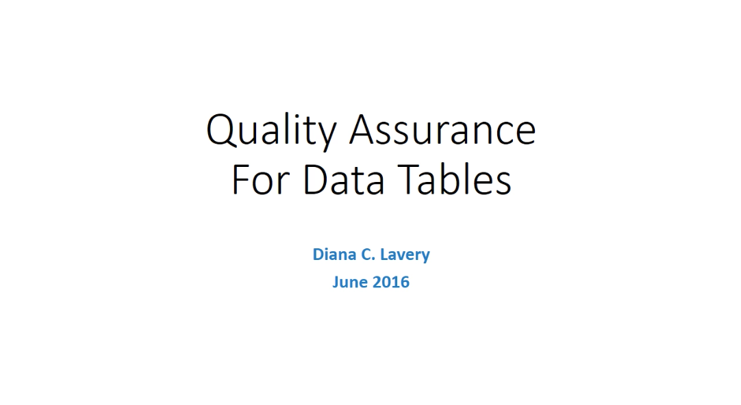 Quality Assurance for Data Tables