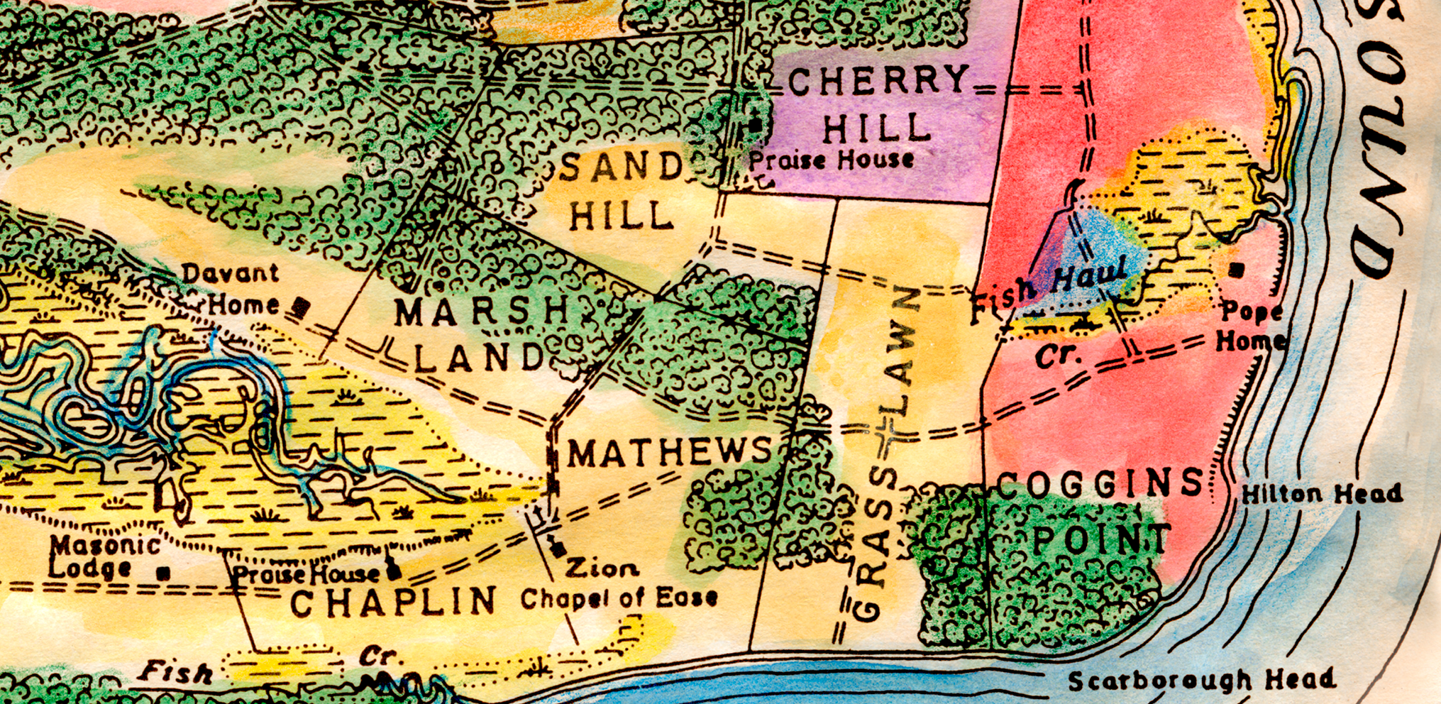 Colorized reproduction of 1861 Map of Northeast Corner of Hilton Head Island