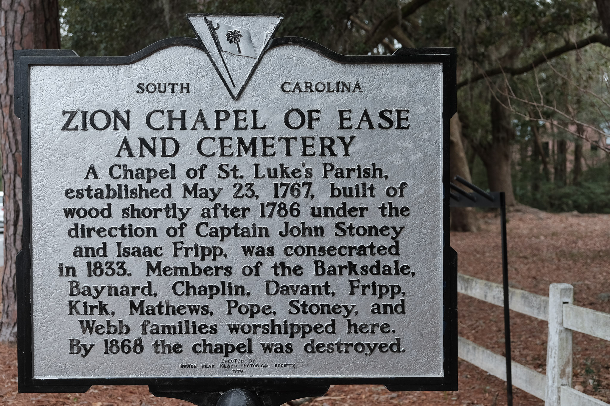Historical marker for the Zion Chapel of Ease and Cemetery