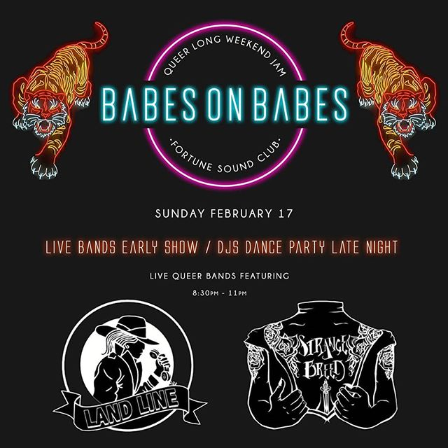 Thanks everyone who came out last Friday to our show. We got another great night stacked up for you next month, February 17th! It's the infamous @babes.on.babes queer jam party ~ band edition with our babe-ly pals, @strangebreedband . Mark it in your calendars now, it's going to be 🔥🔥🔥 . . . #babesonbabes #strangebreed #landline #fortunesoundclub #queer #longweekend #familygayweekend #vancouver #womeninmusic #queermusic #allthebabes #allthefun #allthetime #yvr #vancouverisawesome #vancouverbuzzfeed