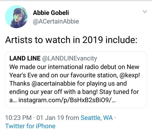 Just remembering that time our favourite @kexp radio host, @acertainabbie, played us on NYE and wrote this little tweet 🐥🖤. Things to watch out for in 2019 from yours truly - @babes.on.babes and Bands ~ Feb. 17 with our friends, @strangebreedband and our long awaited EP this spring!!!! #weloveabbie #welovekexp #acertainabbie #kexp #welovebabesonbabes #welovebabes #2019 #welovestrangebreed #strangebreed #newmusic #eprelease #landline #bethereorbeedith