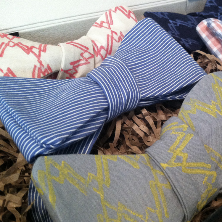 Hand-Printed Bow Ties   Title:  N/A  Medium:  Linocut & Cotton  Year:  2014
