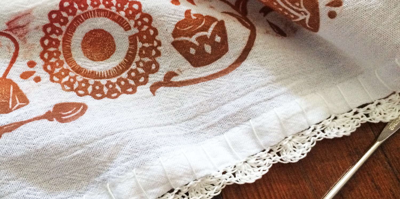 Hand-Printed Tea Towel with Crochet Edge   Title:  N/A  Medium: Woodcut & Flour Sack Towel  Year: 2016