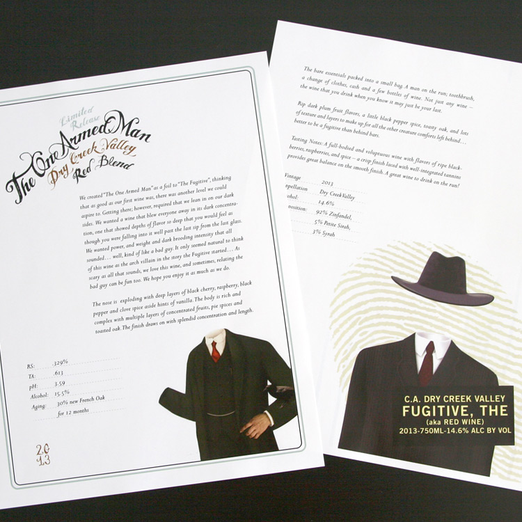 The One Armed Man & The Fugitive   Client:  Truett Hurst Inc.  Scope:  POS Display, Marketing Materials
