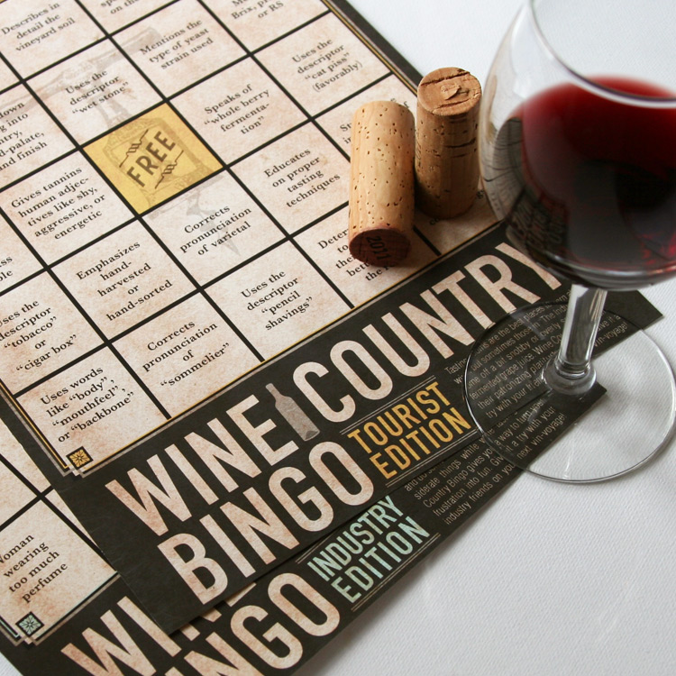 Board Game   Title:  Wine Country Bingo  Medium:  Digital Printing on Recycled Paper  Year:  2013