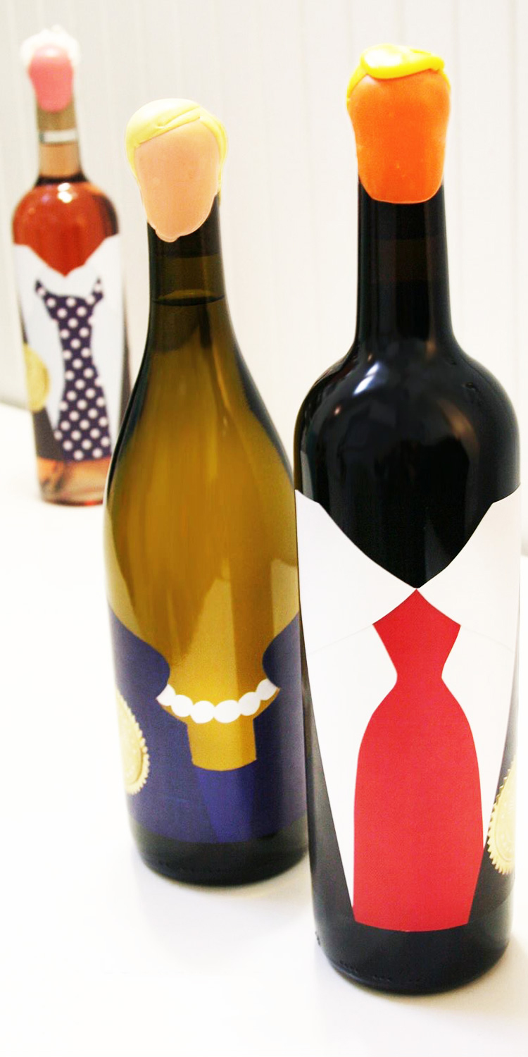 Wine Bottle Political Caricatures   Title:  To Wine is to Win  Medium:  Wine bottles, Paper, Ink, and Homemade Wax  Year:  2016