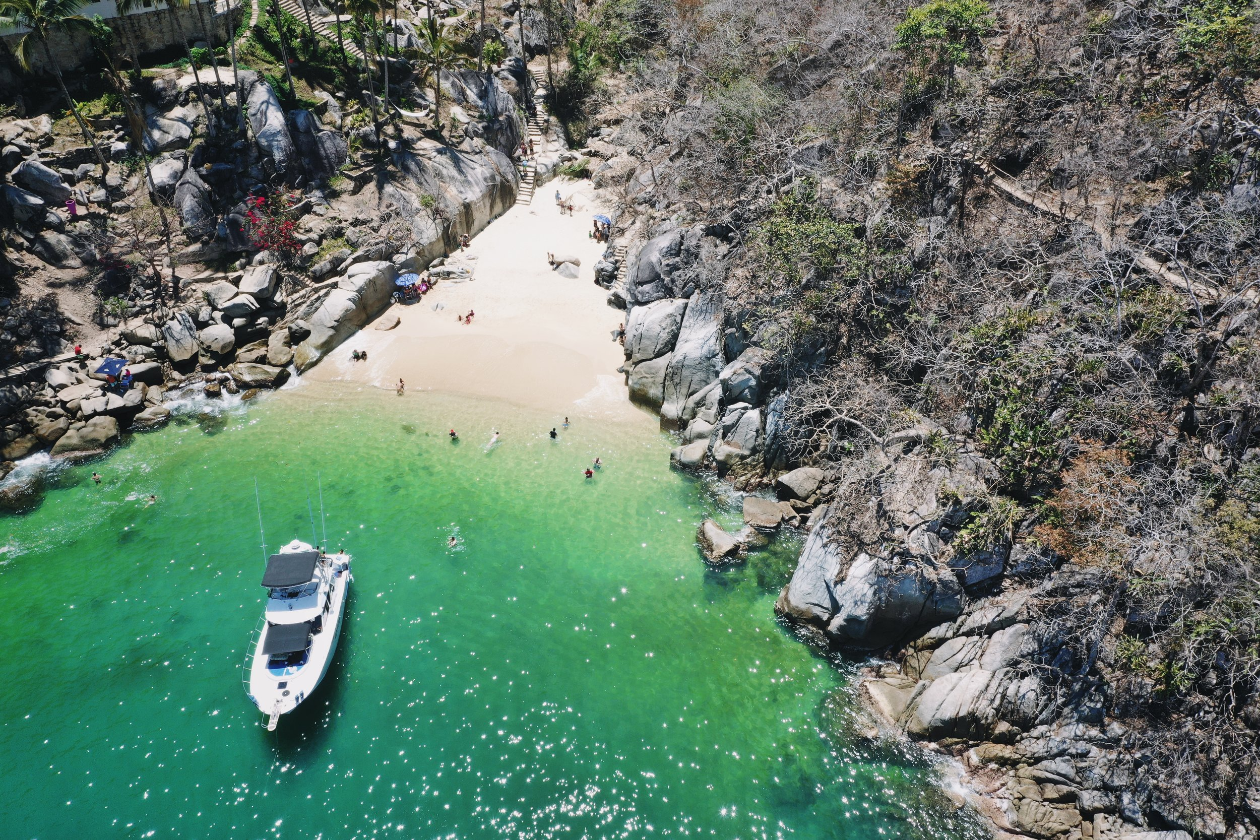 "Colomitos Beach, Puerto Vallarta. A ""hidden beach"" only accessible by boat or by hiking in (like we did)."