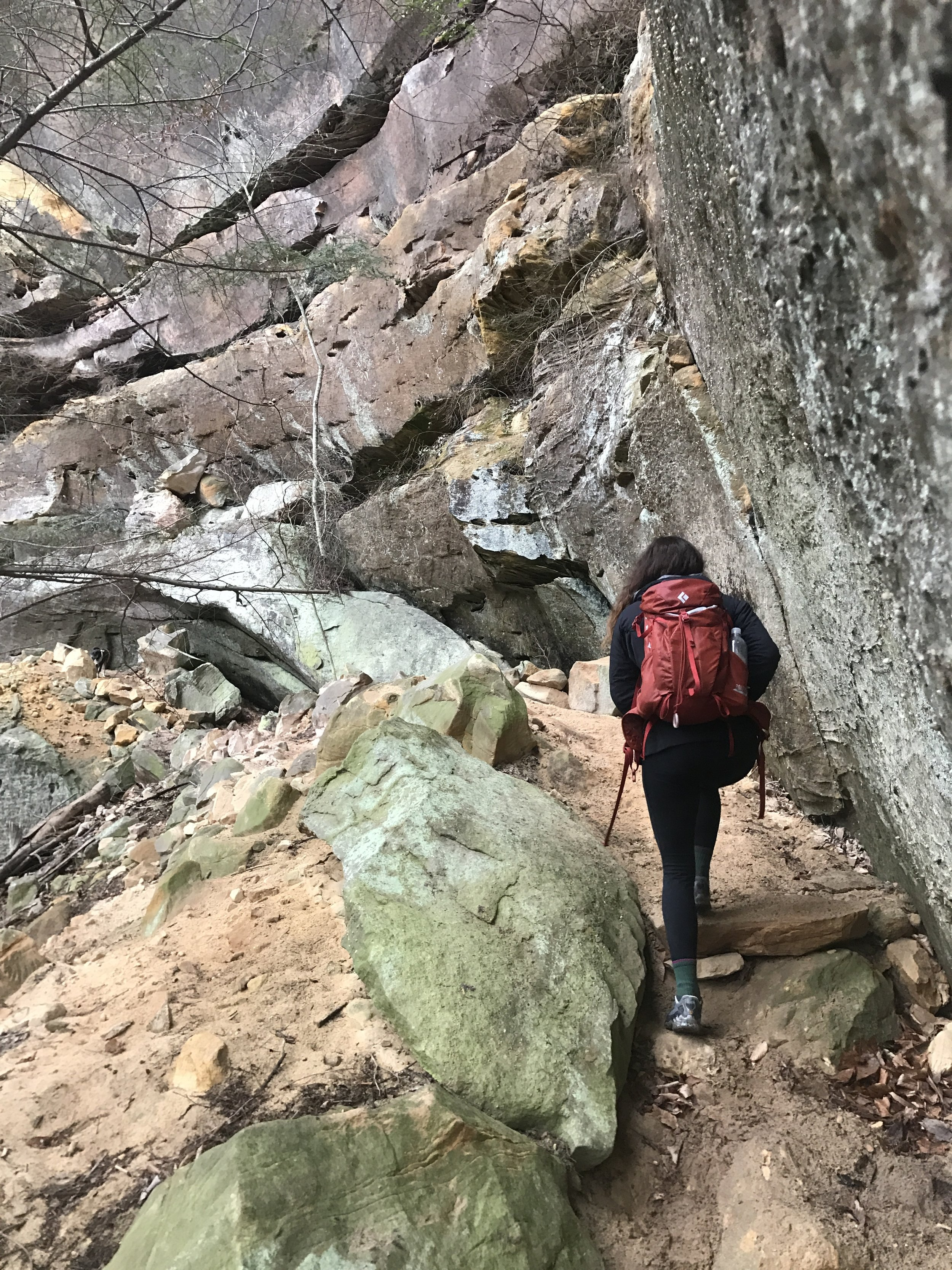 Most of the trail took us right along the rock walls and through the rock houses.