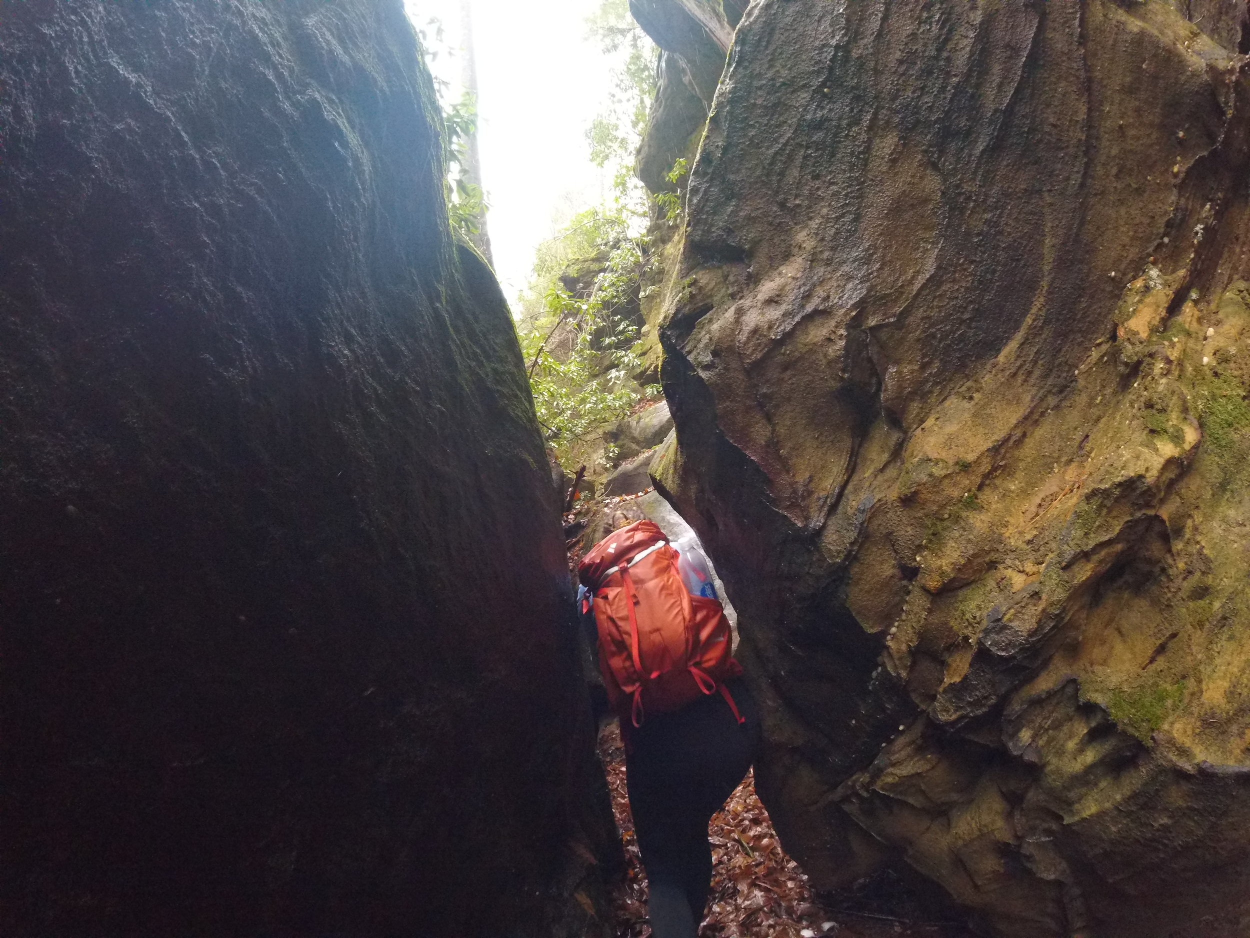 Weaving through giant boulders as we walked along the trail.