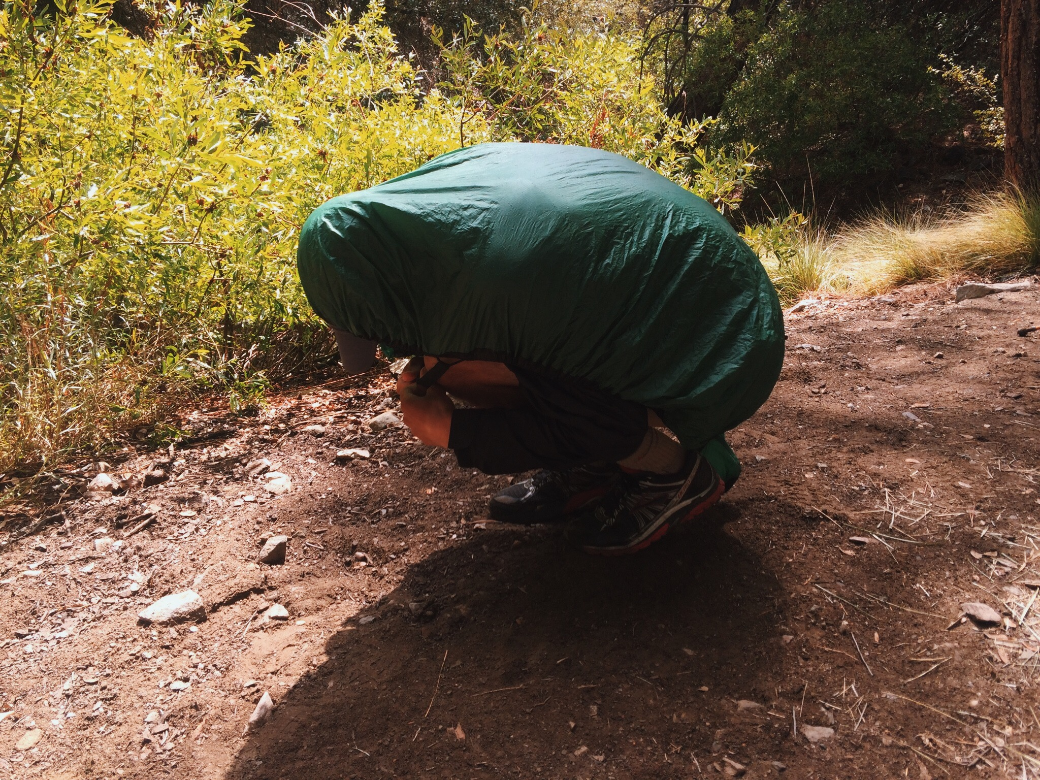 Honorable Mention: if all else fails, you can use your backpack's rain cover as a way to confuse wildlife and deter them from camp. (pictured: Stan the hiking man)