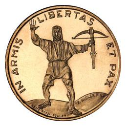 """""""IN ARMS LIBERTY AND PEACE"""" -Schutzenfest Prize coin with William Tell"""