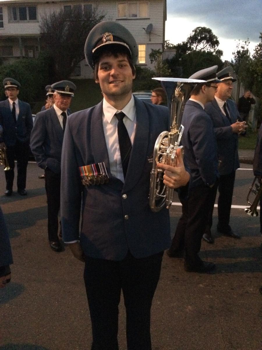Tim Dawson (Dennis' son) wearing his grandfather's WWII medals at an ANZAC Dawn Service at the Porirua RSA.