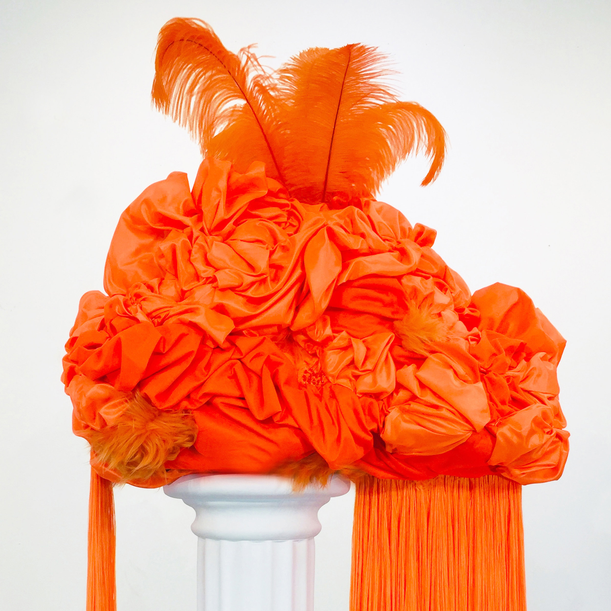 Aldonza  , (detail) 2019 Polystyrene foam, various fabrics, feathers, glass beads, and dressmaker pins 27 x 28 x 16 inches