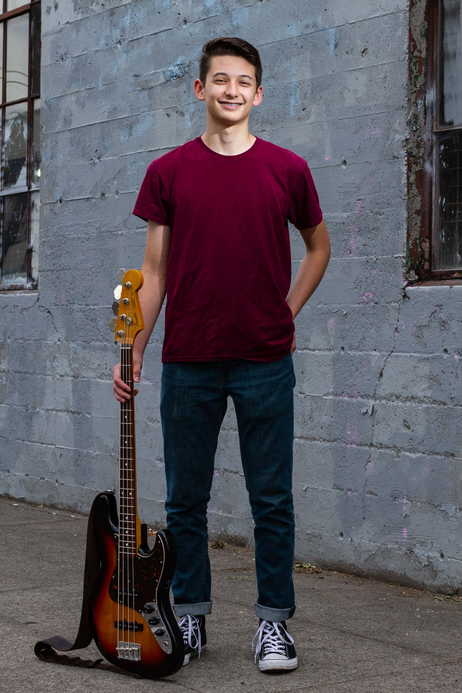 Senior portraits in Portland with Noah: incorporating his bass guitar into the photo