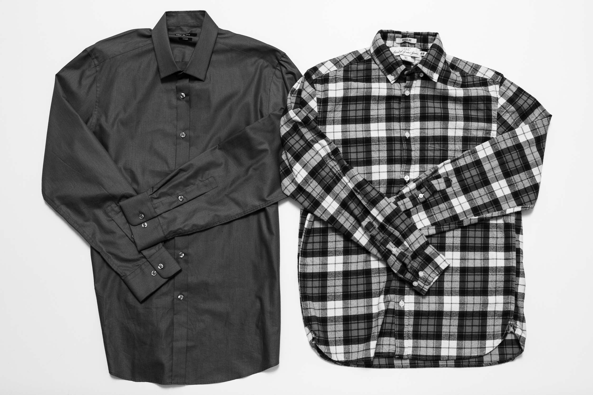 Black and white photo of two men's dress shirts