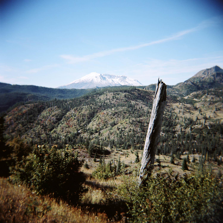 Holga photo of Mount St. Helens in Washington in September, 2017