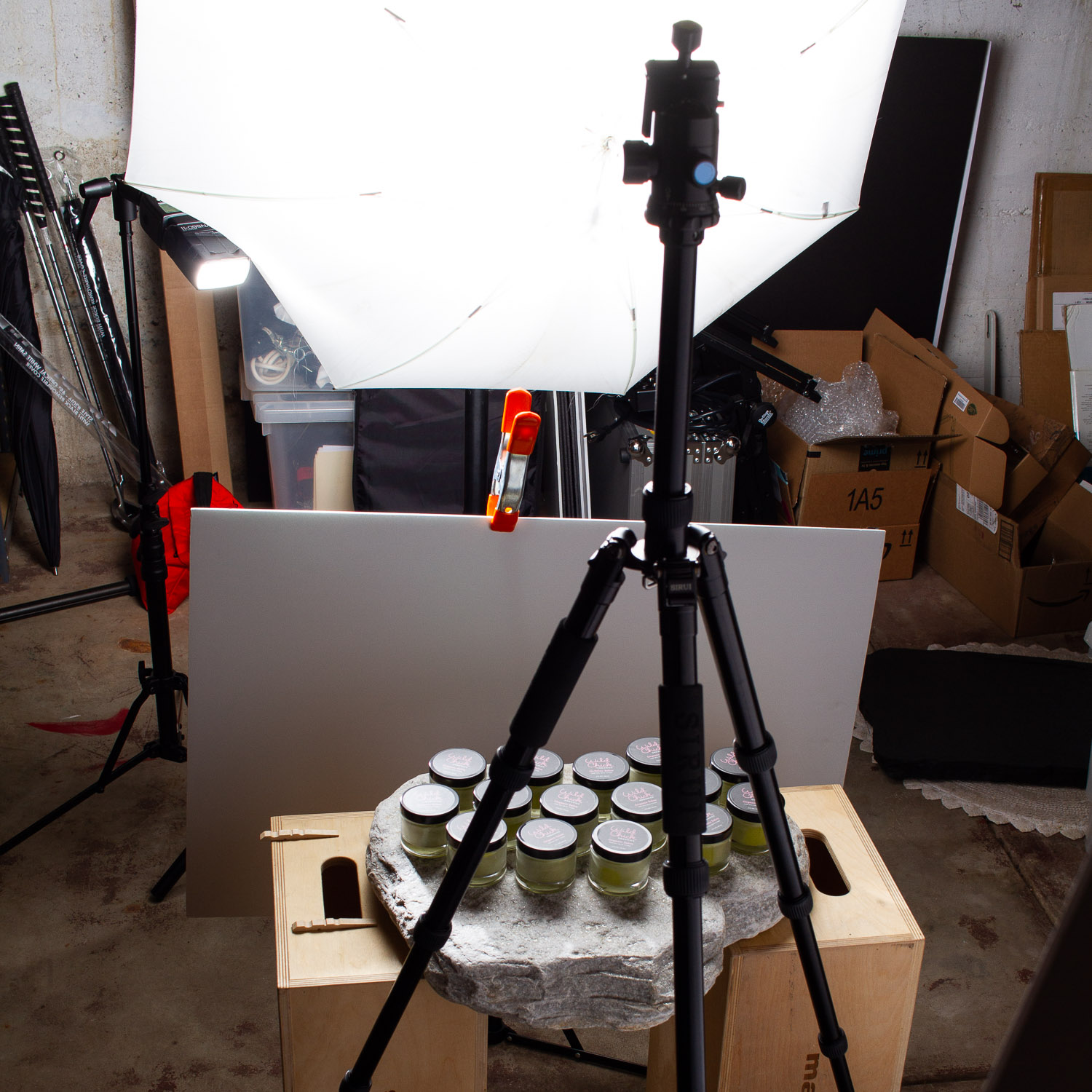Product photography behind the scenes photo for Wild Chick Organics Skin Care